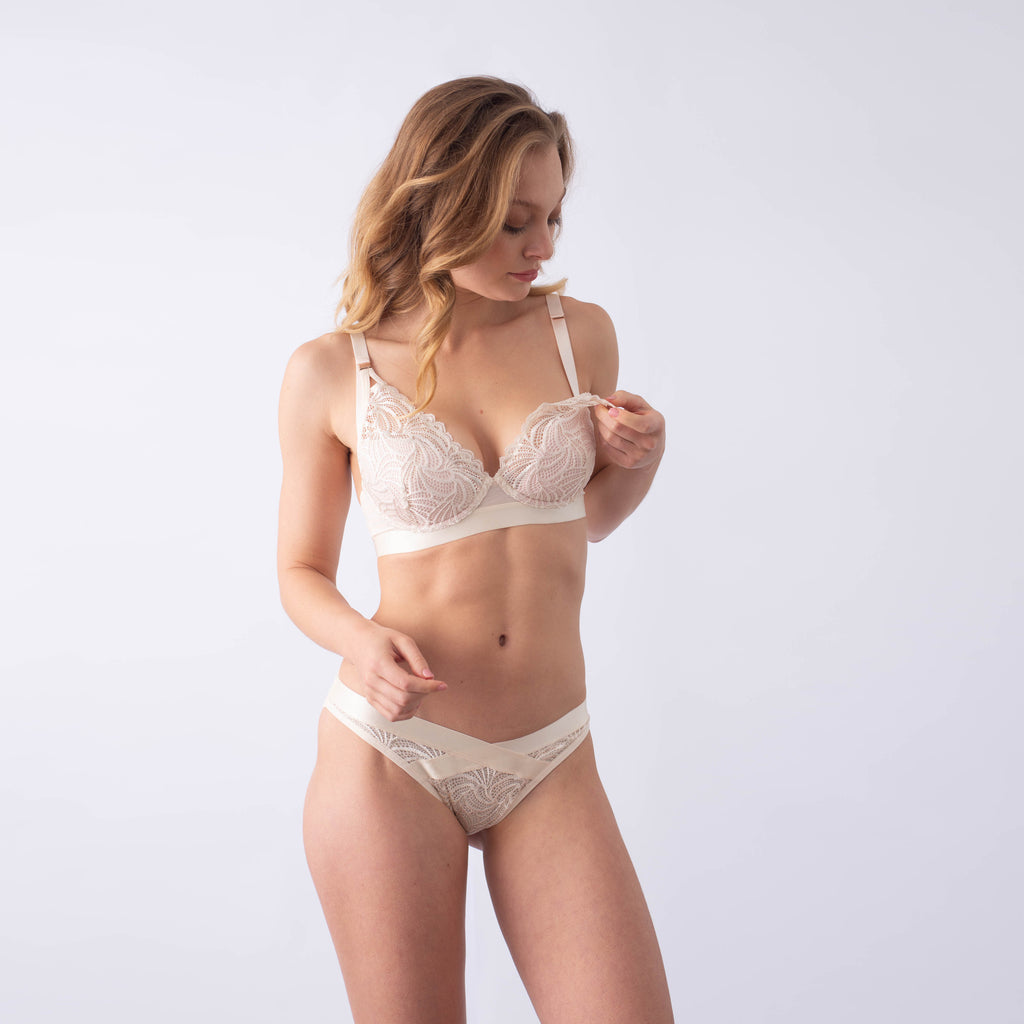 HOTMILK PROJECTME - WARRIOR PLUNGE IVORY CONTOUR NURSING BRA - FLEXI UNDERWIRE
