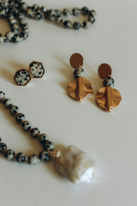 Grace Dangle Earrings -- Dalmatian Jasper