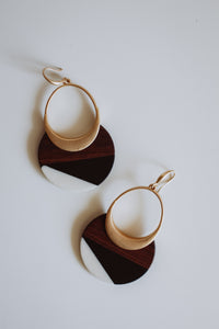 Amanda -- Wood and Resin Black and White Statement Earrings