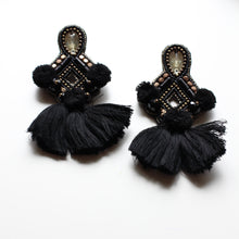 Load image into Gallery viewer, Sophia Statement Earrings- Black