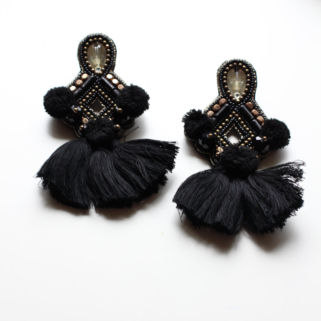 Sophia Statement Earrings- Black