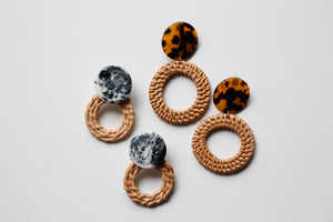 Rattan Marble Statement Earrings