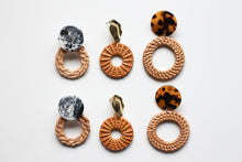 Load image into Gallery viewer, Rattan Marble Statement Earrings