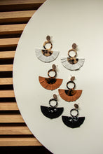 Load image into Gallery viewer, Acrylic Tortoise Shell Statement Earrings with Brown Leather Tassels