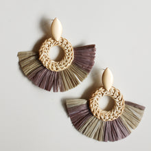 Load image into Gallery viewer, Olive Rattan and Straw Statement Earrings