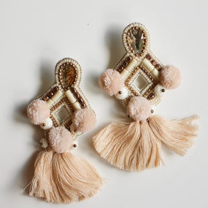 Sophia Statement Earrings- Cream