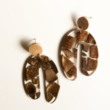Load image into Gallery viewer, Acrylic and Wood Statement Arch Earring
