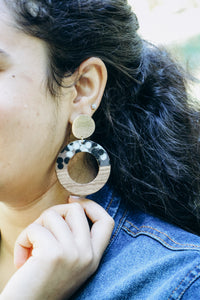 Zoey -- Wood and Resin Statement Earrings