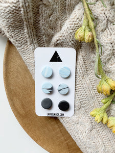 Graphite and Powder Blue Set of 3 Polymer Clay Studs