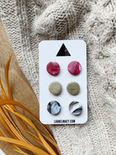 Load image into Gallery viewer, Red, Gold and Black Set of 3 Polymer Clay Studs