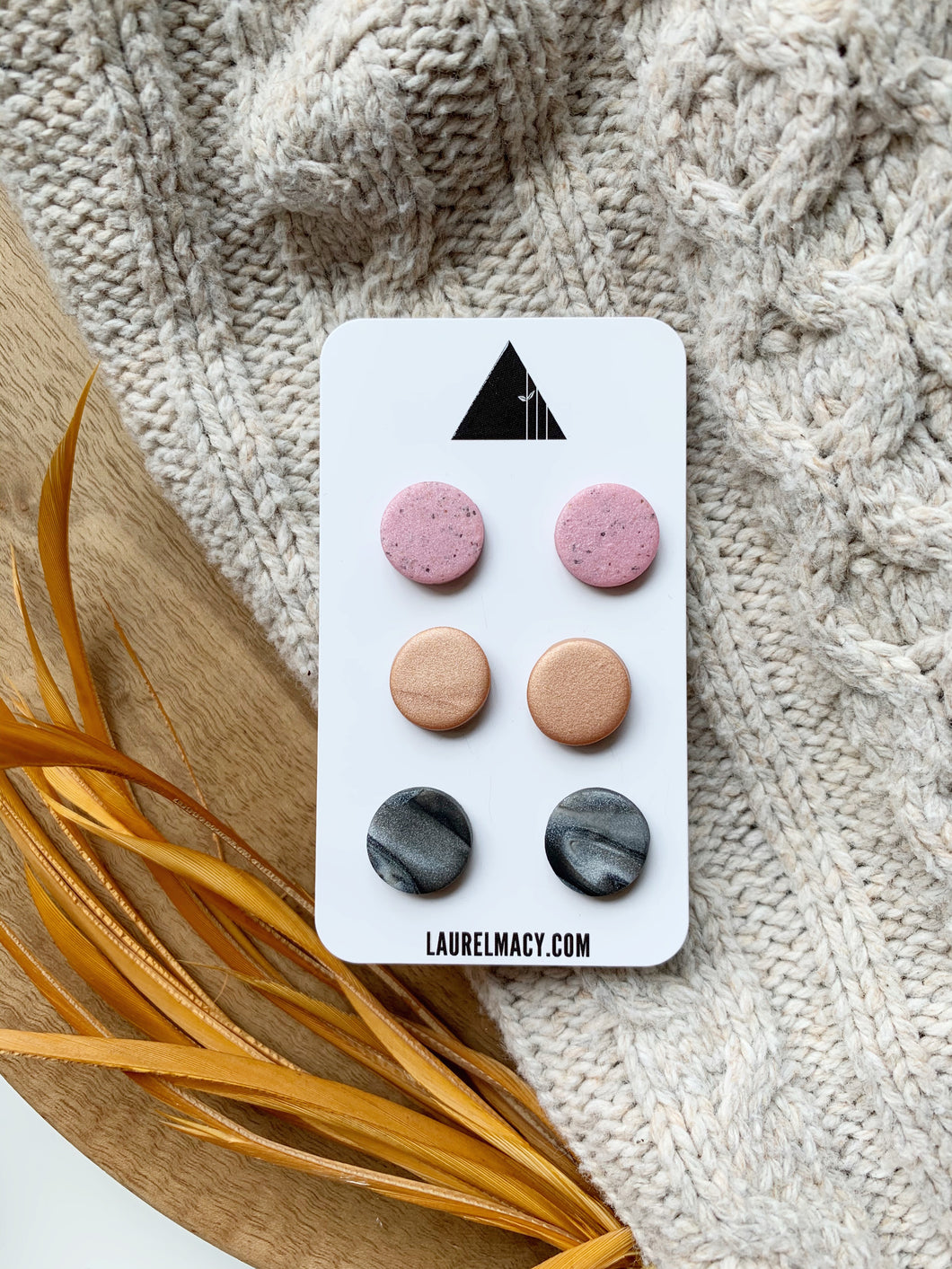 Marble, Pink and Copper Set of 3 Polymer Clay Studs
