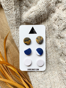 Navy, Gold and White Set of 3 Polymer Clay Studs