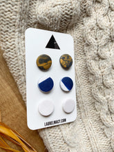 Load image into Gallery viewer, Navy, Gold and White Set of 3 Polymer Clay Studs