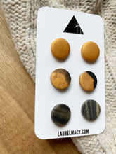 Load image into Gallery viewer, Black and Gold 3 Polymer Clay Studs