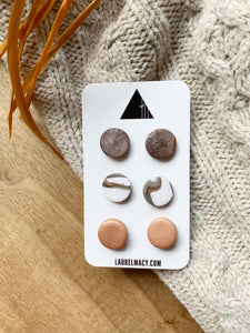 Copper and White Set of 3 Polymer Clay Studs