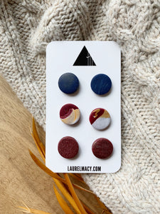 Wine and Navy Set of 3 Polymer Clay Studs