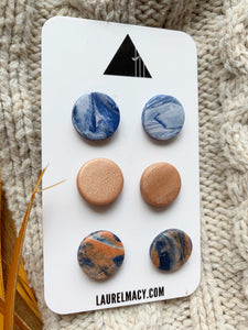 Blue and Copper Set of 3 Polymer Clay Studs