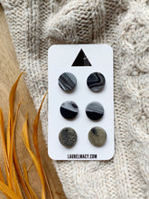 Load image into Gallery viewer, Black and Marble Set of 3 Polymer Clay Studs