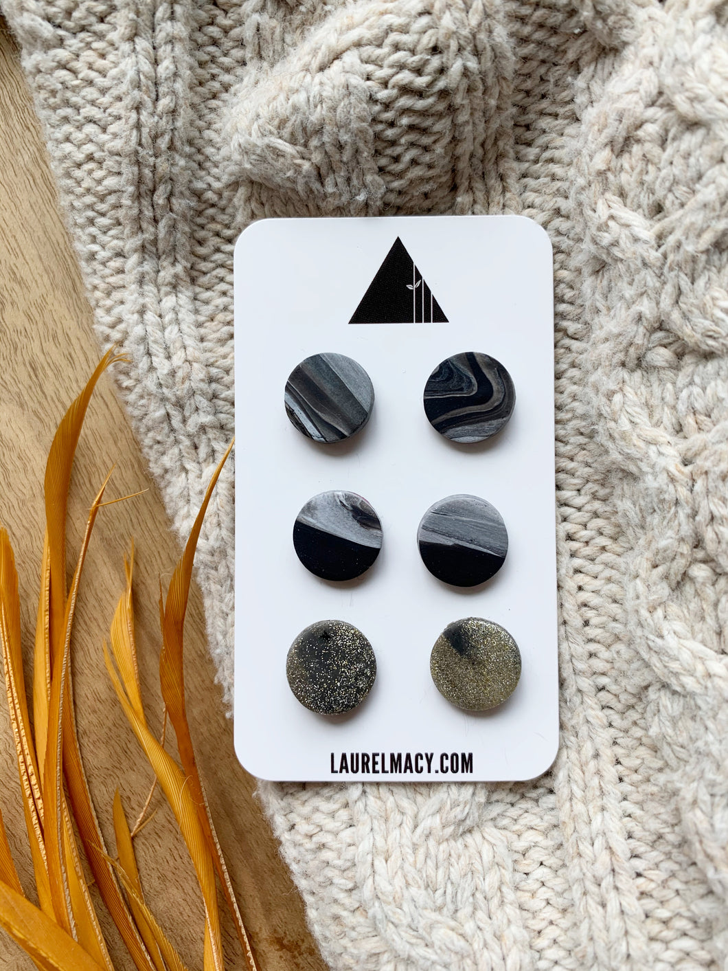 Black and Marble Set of 3 Polymer Clay Studs