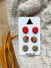 Load image into Gallery viewer, Red and Gold Set of 3 Polymer Clay Studs
