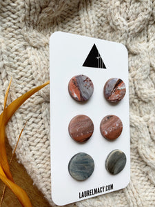 Rust and Ash Set of 3 Polymer Clay Studs