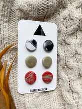 Load image into Gallery viewer, Black, Red and Gold Set of 3 Polymer Clay Studs