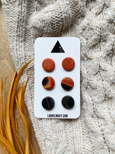 Load image into Gallery viewer, Black and Orange Set of 3 Polymer Clay Studs