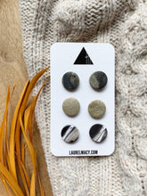 Load image into Gallery viewer, Marble Black and Glittery Gold Set of 3 Polymer Clay Studs