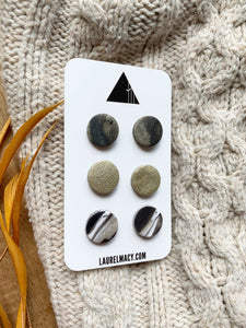 Marble Black and Glittery Gold Set of 3 Polymer Clay Studs