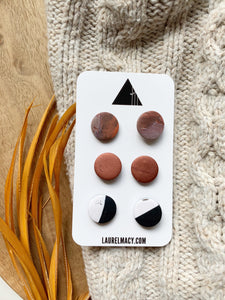 Rust, Black and White Set of 3 Polymer Clay Studs