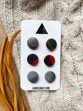 Load image into Gallery viewer, Black, Red, Gray Set of 3 Polymer Clay Studs