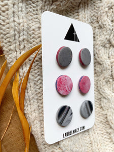 Marble and Red Set of 3 Polymer Clay Earrings
