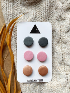 Graphite, Pink and Copper Set of 3 Polymer Clay Studs