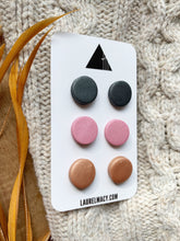 Load image into Gallery viewer, Graphite, Pink and Copper Set of 3 Polymer Clay Studs