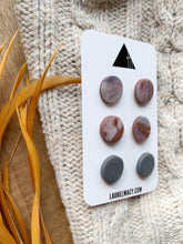 Load image into Gallery viewer, Gray and Earth Set of 3 Polymer Clay Studs
