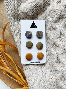 Blue and Gold Set of 3 Polymer Clay Studs