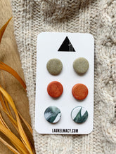 Load image into Gallery viewer, Shimmer, Fire Orange and Hunter Green 3 Polymer Clay Studs