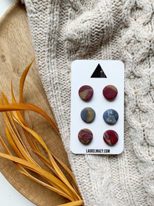 Burgundy and Blue Set of 3 Polymer Clay Studs