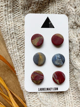 Load image into Gallery viewer, Burgundy and Blue Set of 3 Polymer Clay Studs