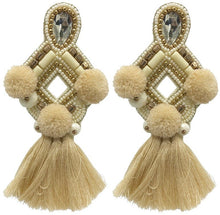 Load image into Gallery viewer, Sophia Statement Earrings- Cream