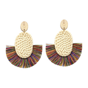 Multi Colored Rattan and Thread Statement Earrings