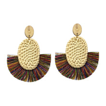 Load image into Gallery viewer, Multi Colored Rattan and Thread Statement Earrings
