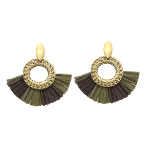 Olive Rattan and Straw Statement Earrings