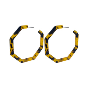Acrylic Tortoise Shell Statement Post Hoop Earrings