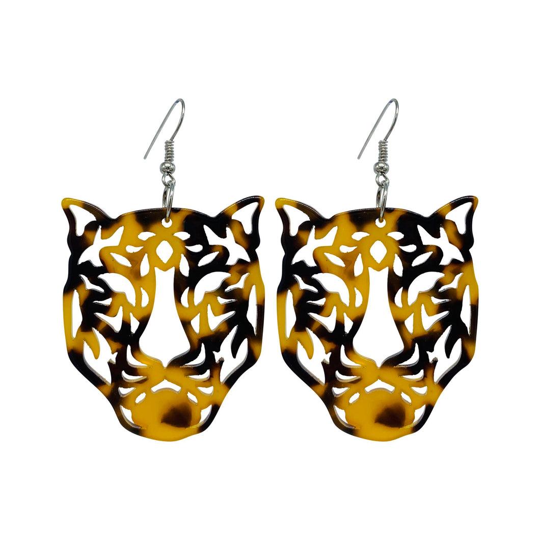 Tiger Acrylic Tortoise Shell Statement  Earrings