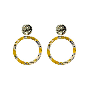 Mustard Acrylic Statement Earrings