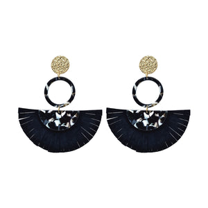 Acrylic Tortoise Shell Statement Earrings with White Black Tassels