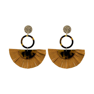 Acrylic Tortoise Shell Statement Earrings with Brown Leather Tassels