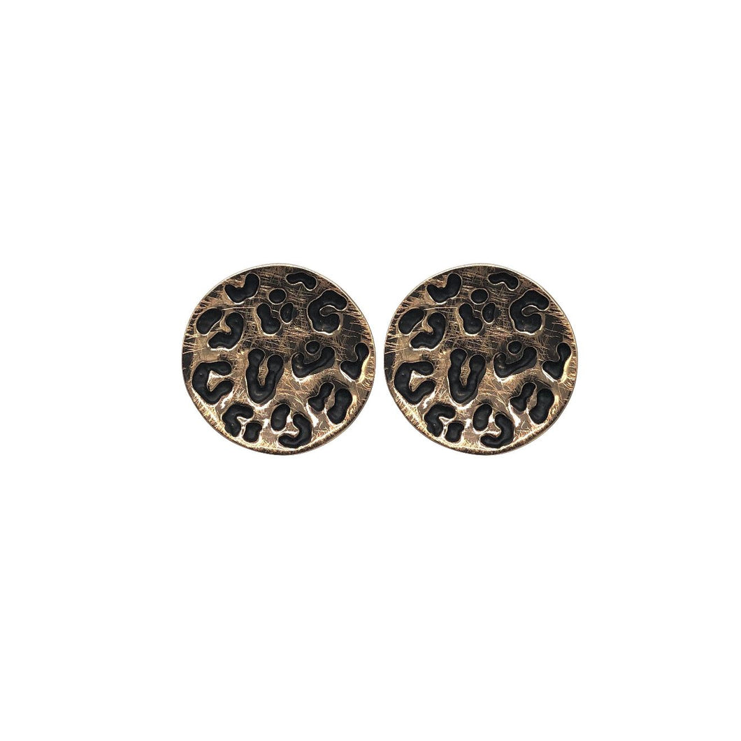 Hannah Animal Print Studs in Rose Gold