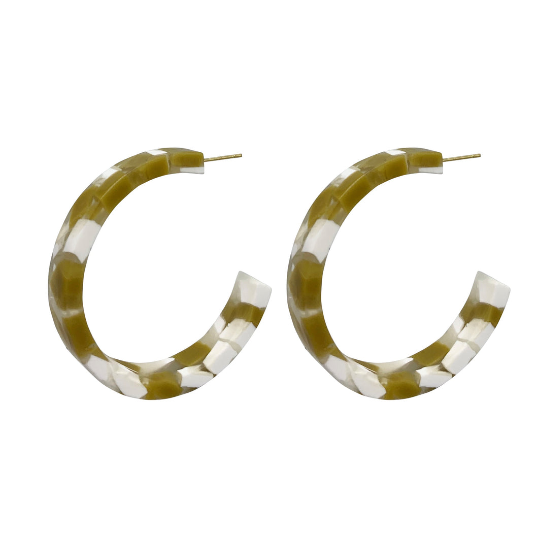 Tori - Acrylic Statement Hoop Earring White and Mustard